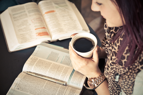 Woman Studying Two Bibles